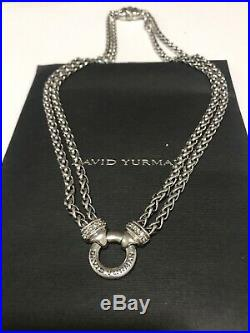 David Yurman Double Chain Wheat Diamond Sterling Silver 18 Inch Necklace