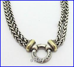 David Yurman Double Wheat Chain Donut Sterling Silver/18kt Gold Necklace 16'