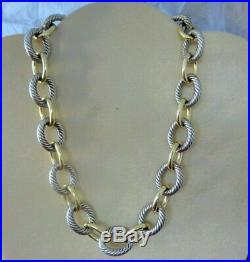 David Yurman Extra-Large Oval Link 18k Gold & Silver Chain Necklace 17 Long