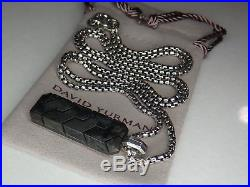 David Yurman Forged Carbon Silver 925 Dog Tag Mens Pendant with 26 DY Necklace