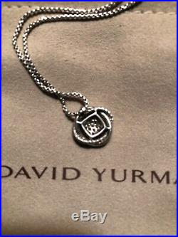 David Yurman Infinity Necklace Sterling Silver and Pave Diamonds on Box Chain