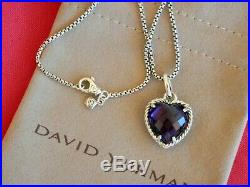 David Yurman Large. Cable Rim Brilliant Purple Amethyst Heart Pendant Necklace17