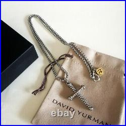 David Yurman Necklace Sterling Silver 2.7mm box Chain Necklace and Cross Pendant