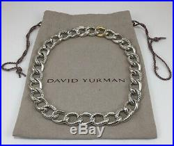 David Yurman Oval Link Necklace in Sterling Silver and 18K Yellow Gold