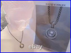 David Yurman Pave Cable Pearl -Diamond Pendant Sterling Silver Necklace