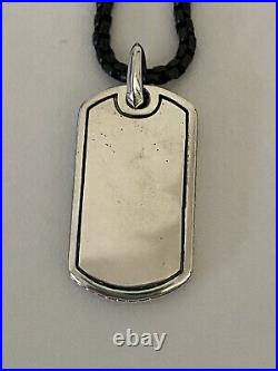 David Yurman Pave Dog Tag Men's Necklace With Black Spinel With 26'' Chain