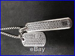 David Yurman Pavé Tags with Gray Sapphire Pendants Necklace 26 inch necklace