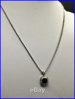 David Yurman Petite Albion Pendant Necklace with Black Onix and Diamonds, 24