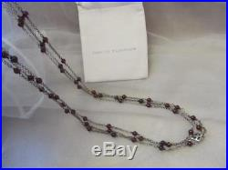 David Yurman Red Garnet Bead Chain Sterling Silver Necklace 60 Designer Signed