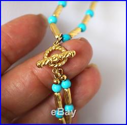 David Yurman Retired 18k Y Gold & Natural Turquoise Double Strand Necklace