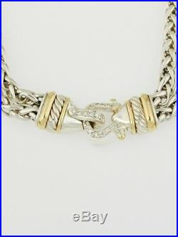 David Yurman SS &18K gold, diamond accent buckle necklace, double wheat chain