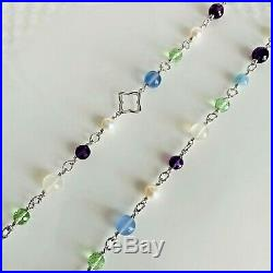 David Yurman Silver Chain Necklace Pearl Amethyst Chalcedony Multicolor 40