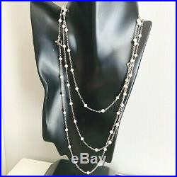 David Yurman Silver Chain Necklace with Pearls 3.5mm 60 Authentic NEW