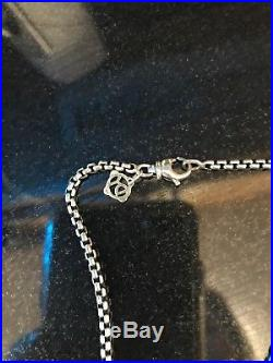 David Yurman Silver & Gold Square Amethyst Necklace With Box Chain