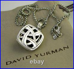 David Yurman Square Chain Pendant Necklace with Red Garnet & Crystal