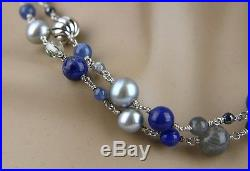 David Yurman St. Silver Chain With Lapis Pearl & Semi Beads Necklace New Box 28n