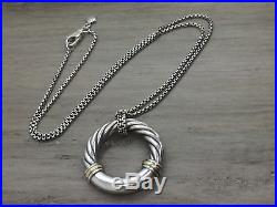 David Yurman Sterling & 18K Gold METRO Cable Pendant Necklace 18