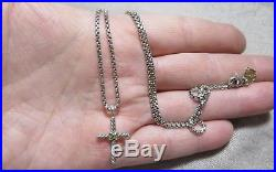 David Yurman Sterling 925/14k 585 Cable Twisted Cross chain necklace RARE style