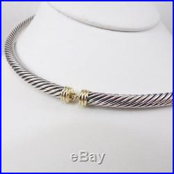 David Yurman Sterling Silver 14K Gold Collar 5mm Cable Necklace 16 LDH6