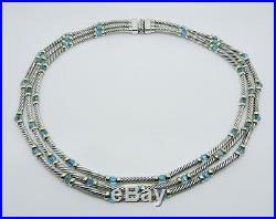 David Yurman Sterling Silver 14k Gold 3-strand Cable Blue Topaz Bead Necklace