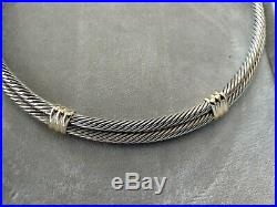 David Yurman Sterling Silver 14k Gold Double Cable Collar Necklace 16 inch
