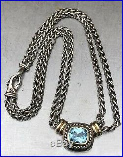 David Yurman Sterling Silver 14k Gold Double Wheat Albion Blue Topaz Necklace