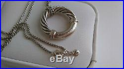 David Yurman Sterling Silver 18K Gold Cable Circle Necklace 18