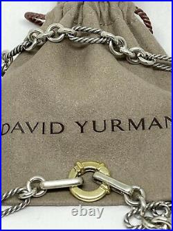 David Yurman Sterling Silver 18K Gold Cable Link Figaro Chain Necklace Long 33