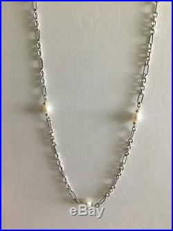 David Yurman Sterling Silver / 18K Gold / Pearl Bijoux Chain Necklace 36 Figaro
