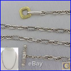 David Yurman Sterling Silver 18k Yellow Gold Figaro Link Toggle Necklace F8