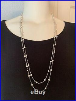 David Yurman Sterling Silver 3.5mm Pearl Bead And Chain 60 Long Necklace