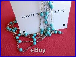 David Yurman Sterling Silver 3.5mm Turquoise Bead Toggle Clasp 60Chain Necklace