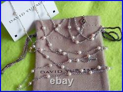 David Yurman Sterling Silver 3.5mm White Pearl Toggle Clasp 60 Chain Necklace