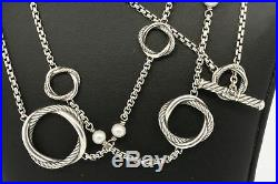 David Yurman Sterling Silver 44 Long Infinity Pearl Station Chain Necklace