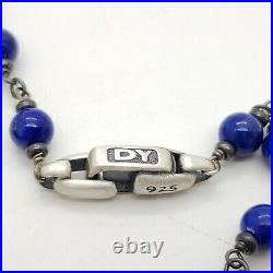 David Yurman Sterling Silver 6mm Rosary Spiritual Bead Lapis 26in Chain Necklace