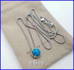 David Yurman Sterling Silver 8mm Blue Turquoise Chatelaine Pendant Necklace 18