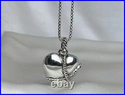 David Yurman Sterling Silver 925 Cable Wrapped 27x27mm Heart Pendant 17 Necklace