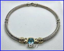 David Yurman Sterling Silver. 925 Gold. 585 Choker Cable Blue Topaz Necklace