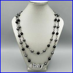David Yurman Sterling Silver. 925 Hematite Onyx Bead Cable Link Necklace 38