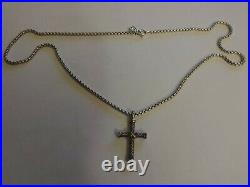 David Yurman Sterling Silver 925 and 18K Gold X Cross 34x19mm Necklace
