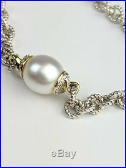 David Yurman Sterling Silver And 18K Gold Sea Pearl And Diamond Necklace AT37