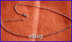 David Yurman Sterling Silver Baby Box Chain Necklace With Logo 20Long 1.7mm