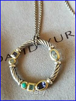David Yurman Sterling Silver Blue Topaz Turquoise Amethyst 16 Confetti Necklace