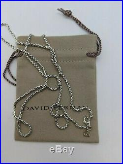 David Yurman Sterling Silver Box Chain Necklace With 14K Gold 2.7mm 32 Long