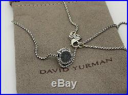 David Yurman Sterling Silver Chatelaine 8'mm Amethyst Pendant 16-17 In Necklace