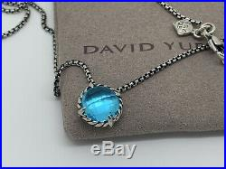 David Yurman Sterling Silver Chatelaine 8'mm Blue Topaz 16-17 In Necklace