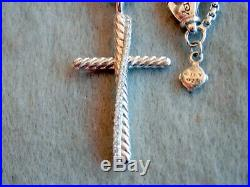 David Yurman Sterling Silver Cross With Diamonds Pendant Necklace 17 Long