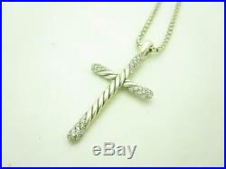 David Yurman Sterling Silver Pave Diamond Cable Cross Pendant Necklace