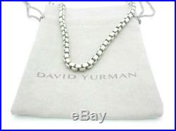 David Yurman Sterling Silver Thick Box Link 3.7mm Chain Necklace 21.5 A