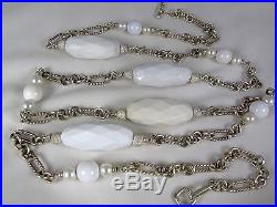 David Yurman White Agate Pearl Silver 166g HUGE 49 Long Cable Station Necklace